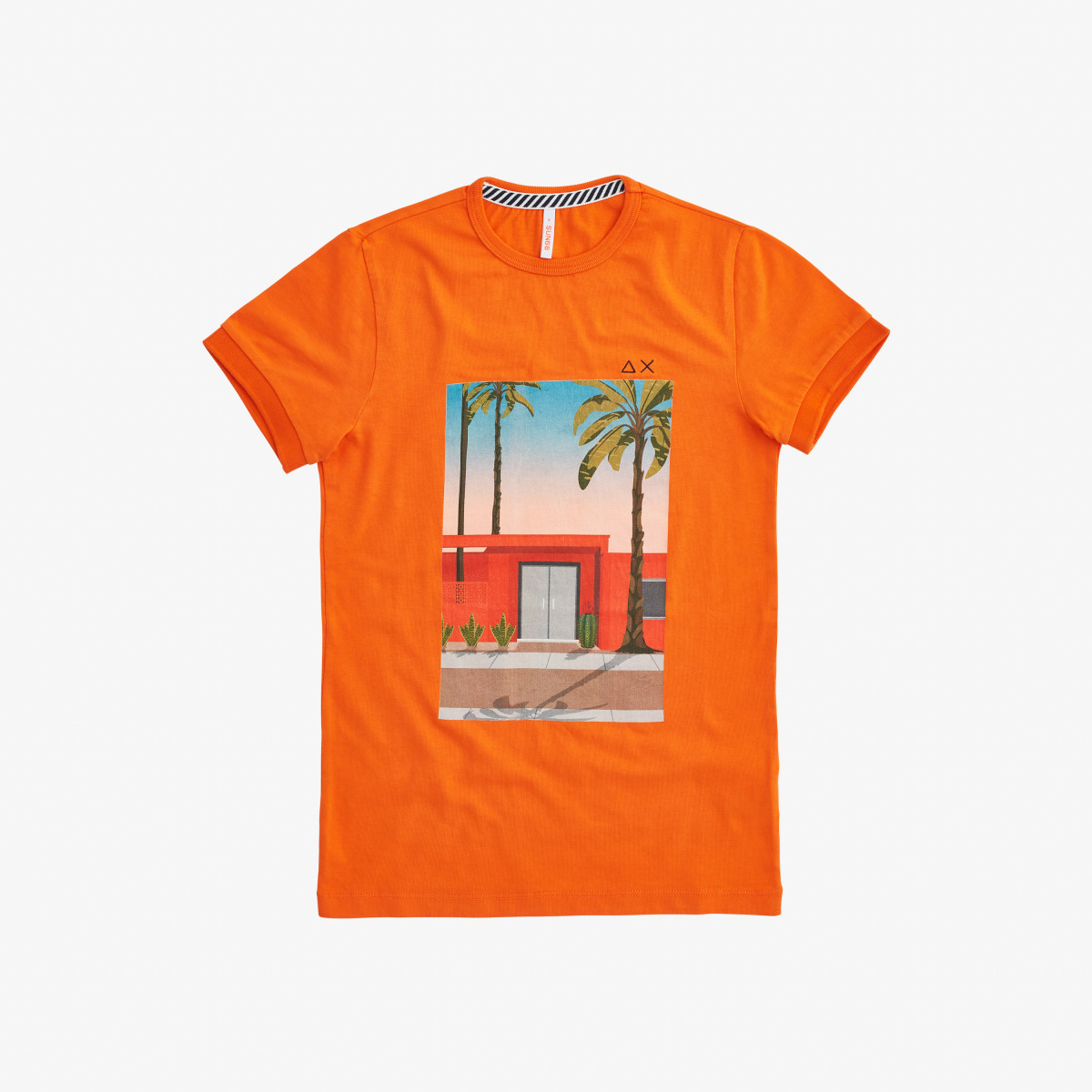 BOY'S T-SHIRT PRINT ON CHEST ARANCIONE