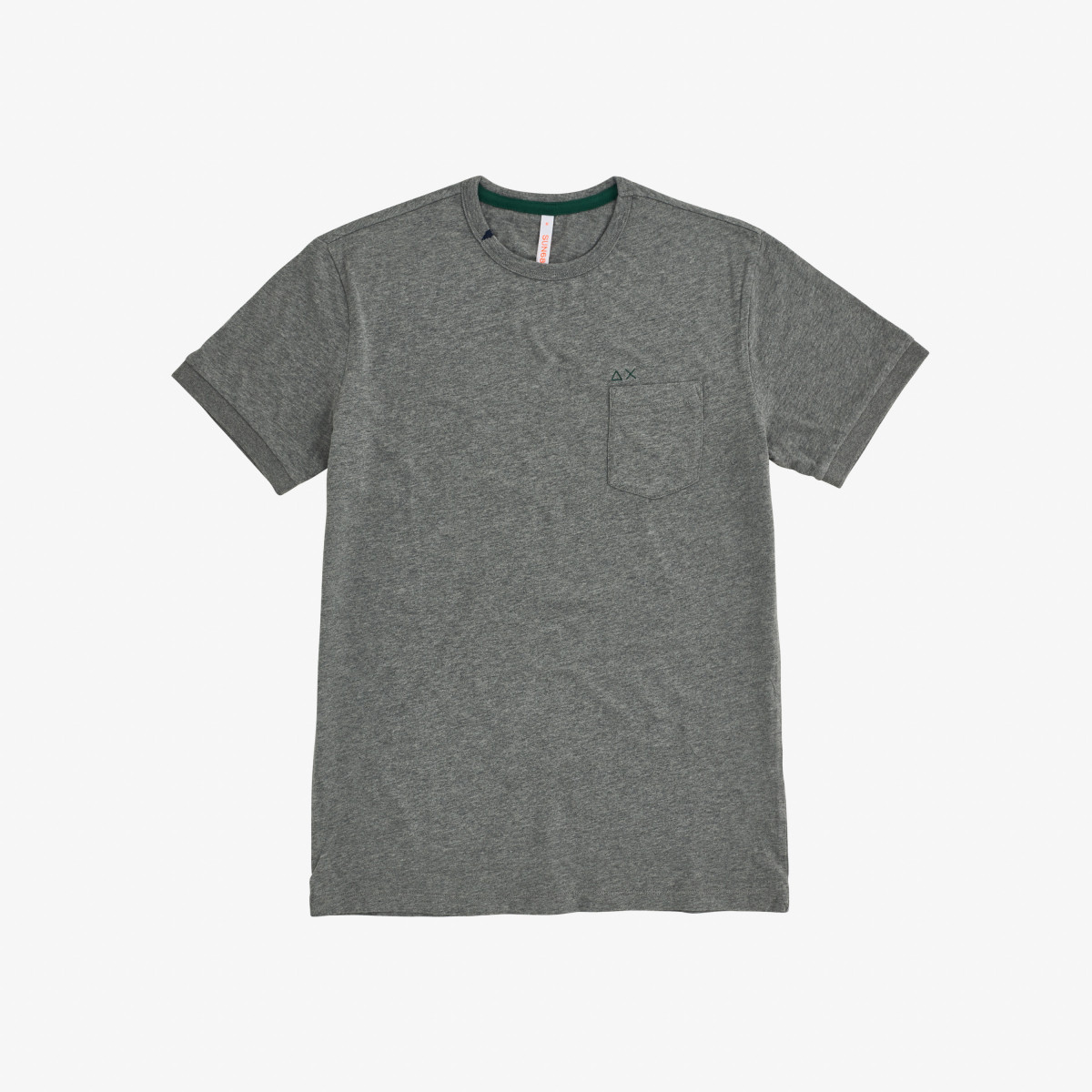 T-SHIRT SOLID POCKET S/S MEDIUM GREY