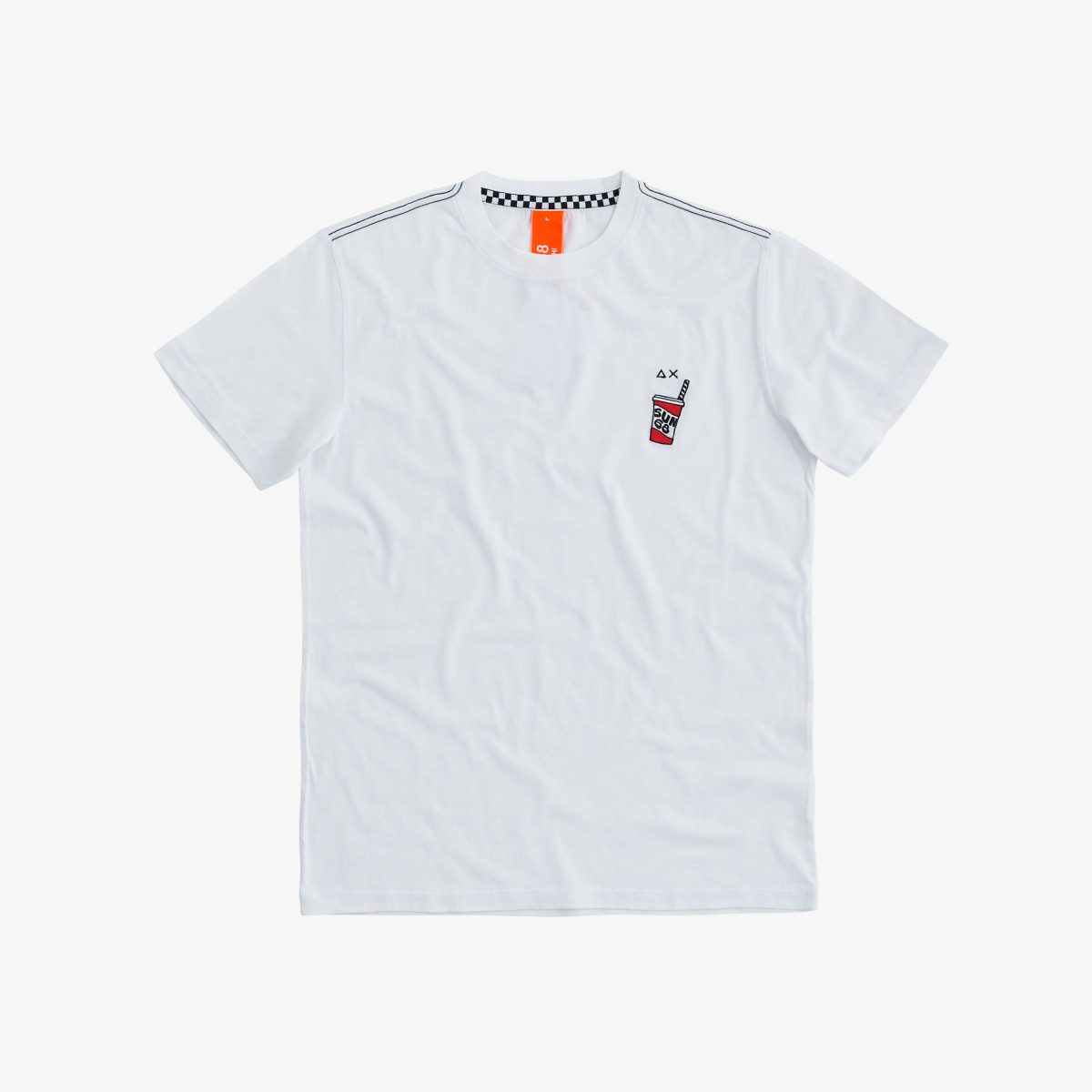 ROUND T-SHIRT WITH PATCH S/S WHITE