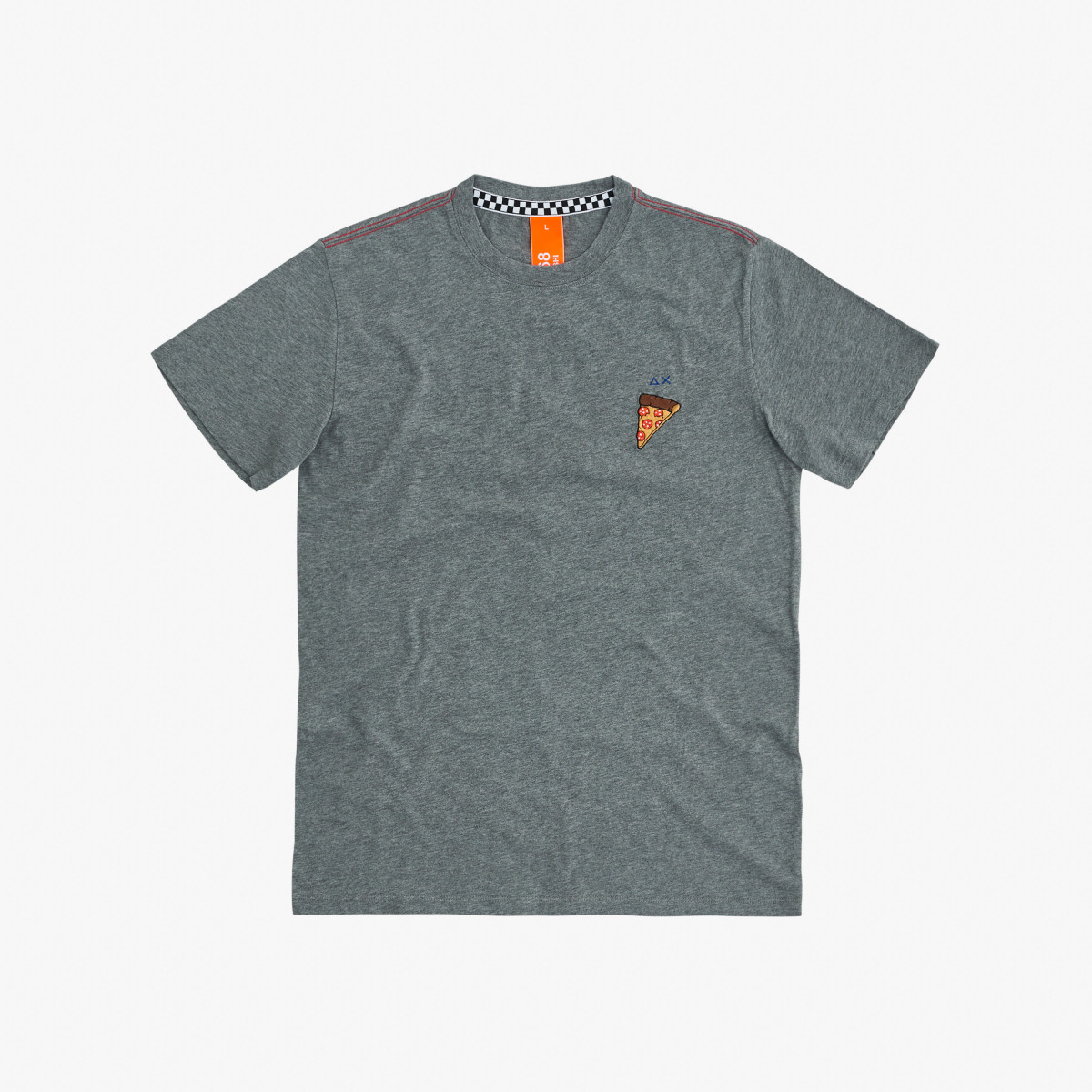 ROUND T-SHIRT WITH PATCH S/S MEDIUM GREY