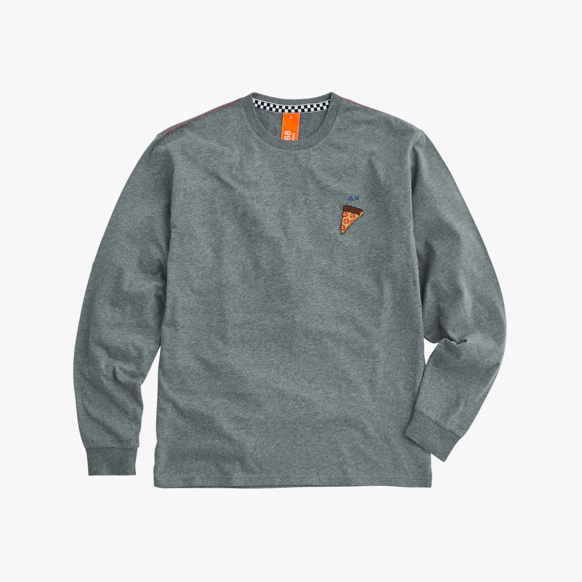 ROUND T-SHIRT WITH PRINT L/S GRIGIO MEDIO