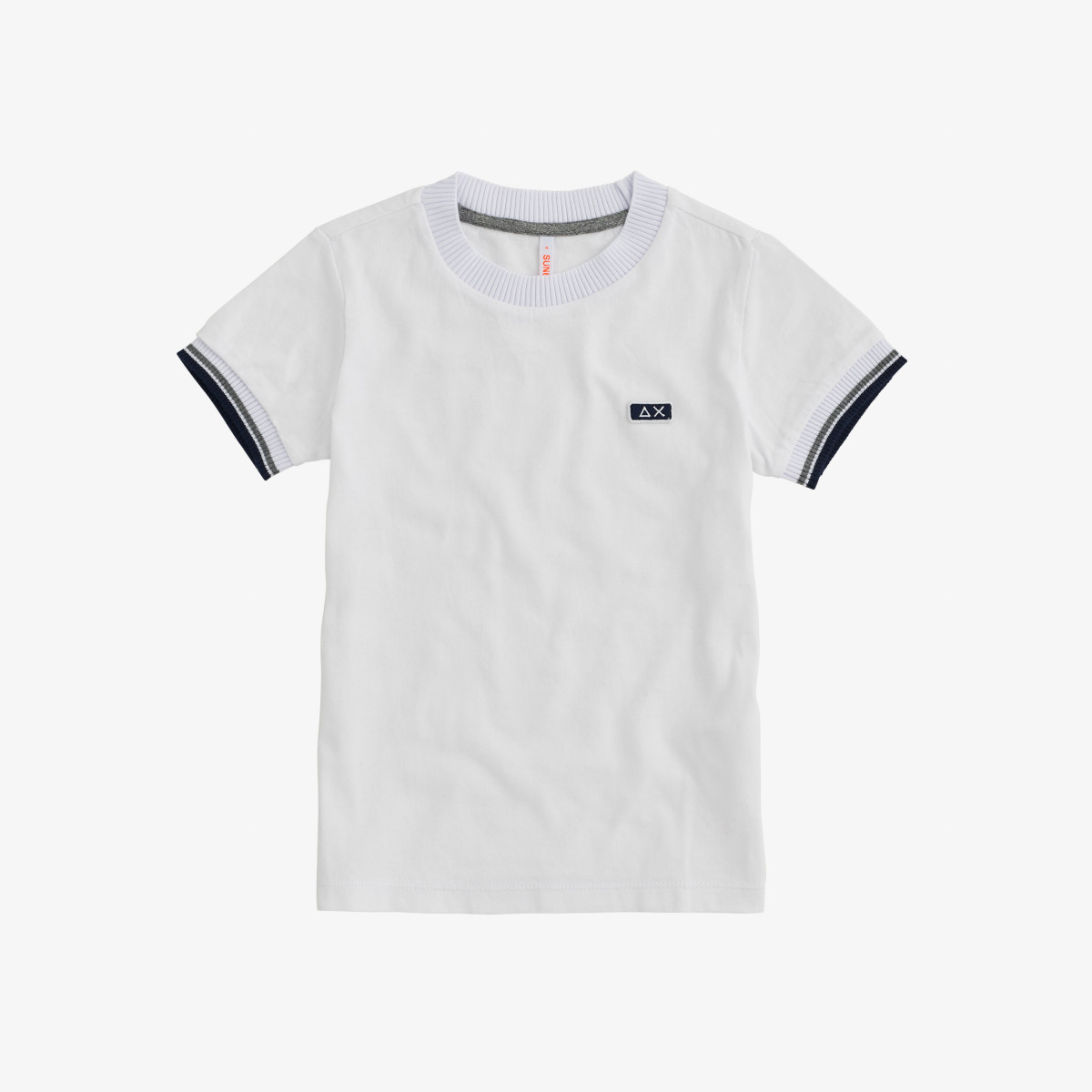 BOY'S T-SHIRT HIGH CUFF RIB S/S WHITE