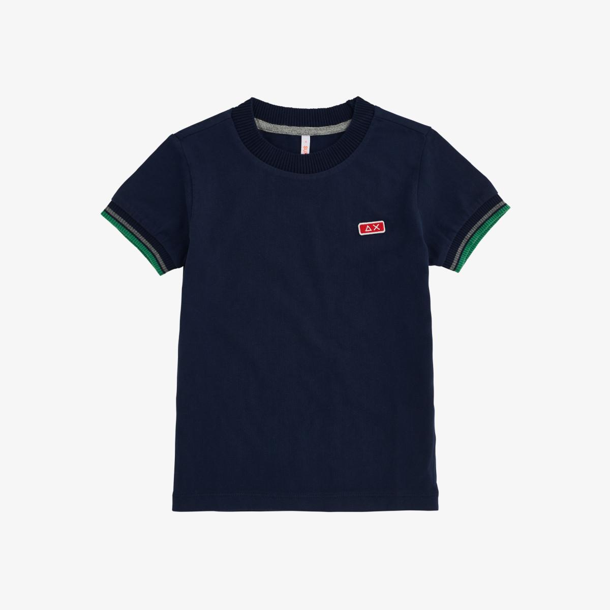 BOY'S T-SHIRT HIGH CUFF RIB S/S NAVY BLUE