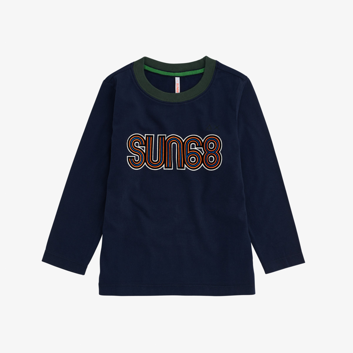 BOY'S T-SHIRT PRINT ON CHEST L/S NAVY BLUE