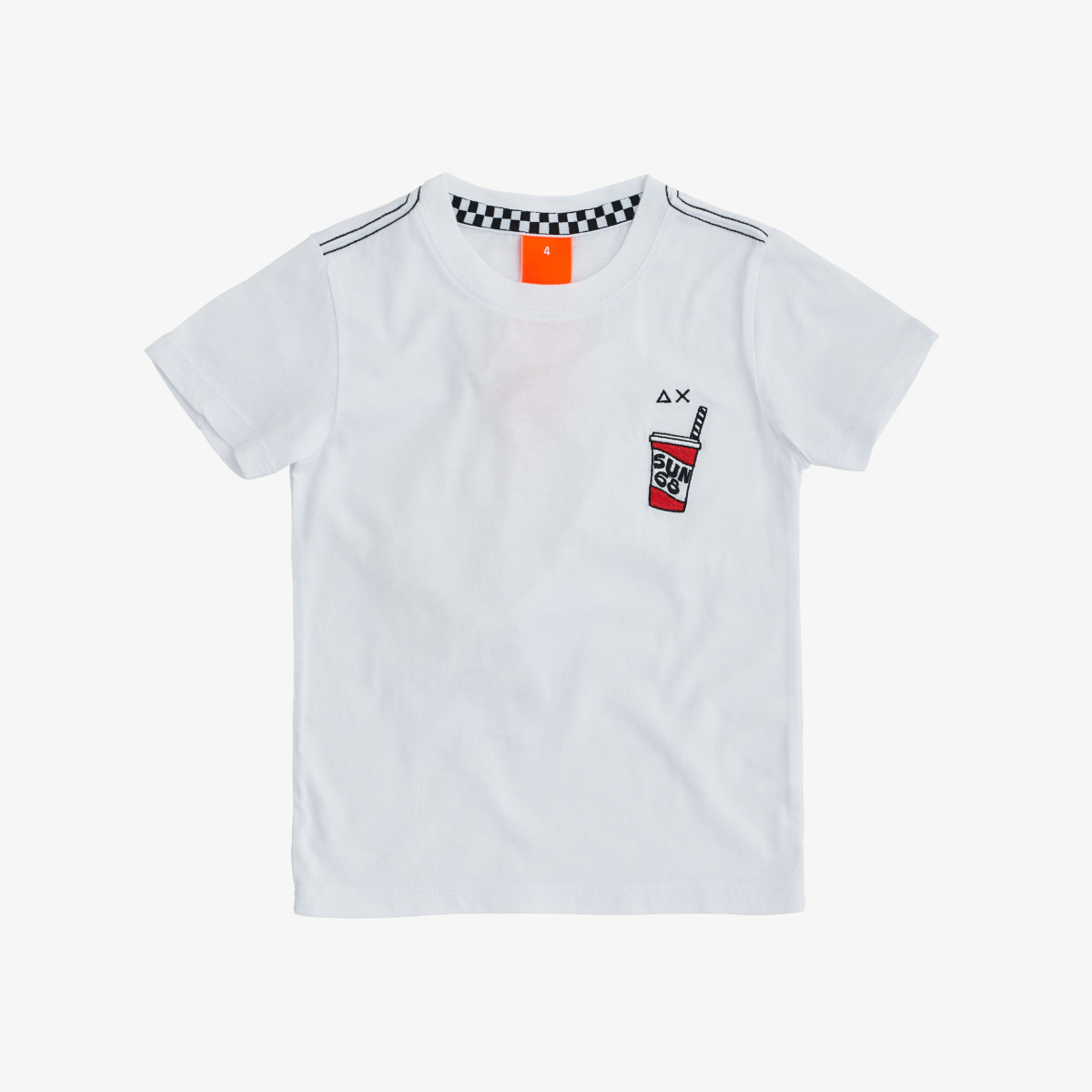 BOY'S ROUND T-SHIRT WITH PATCH S/S WHITE