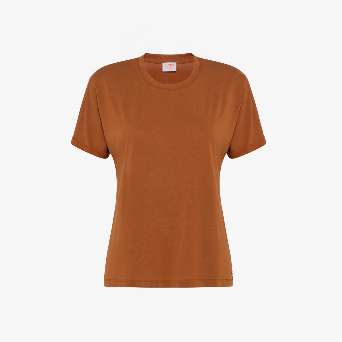 ROUND NECK T-SHIRT SHINY S/S SAND