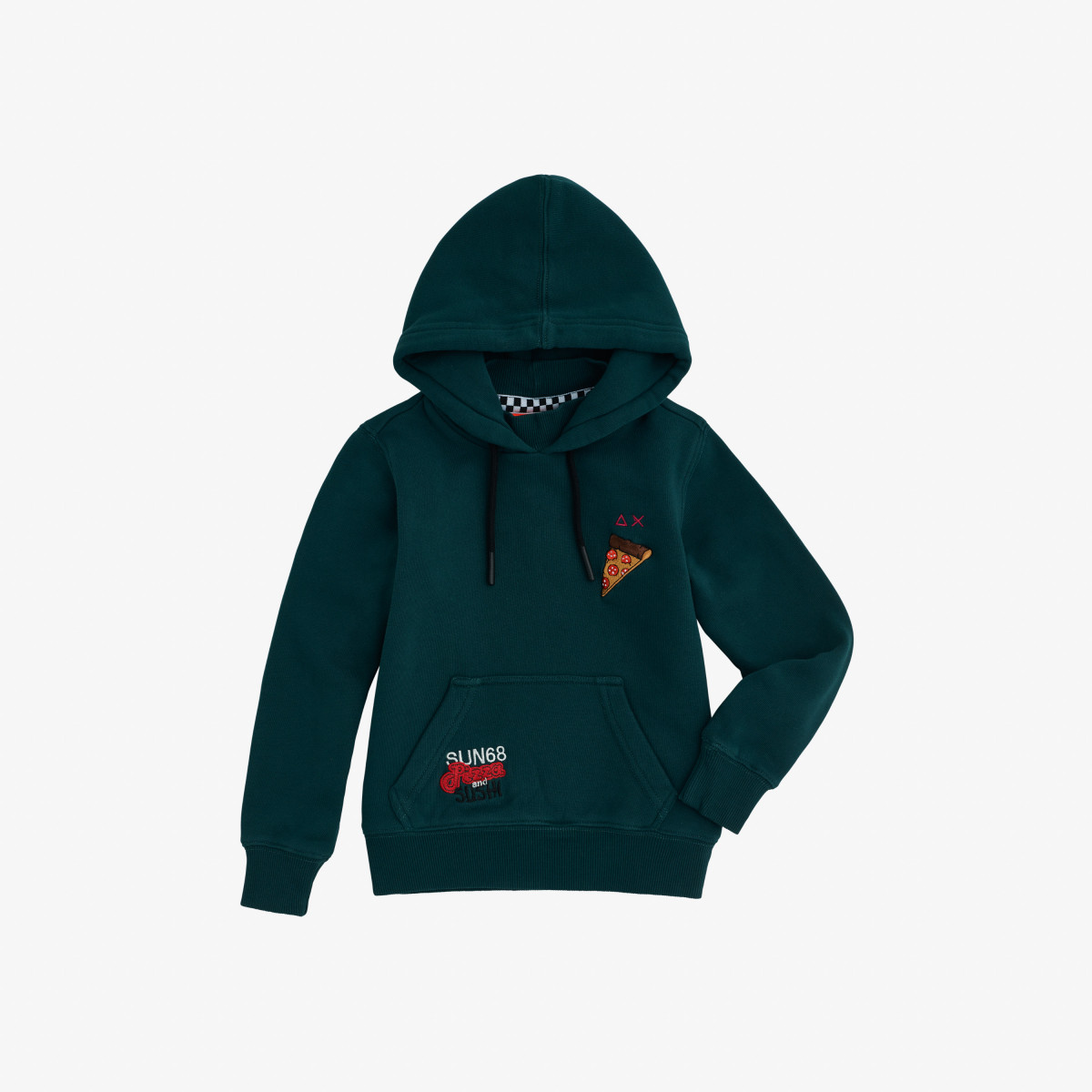 BOY'S HOOD COTT.FL GREEN EMERALD