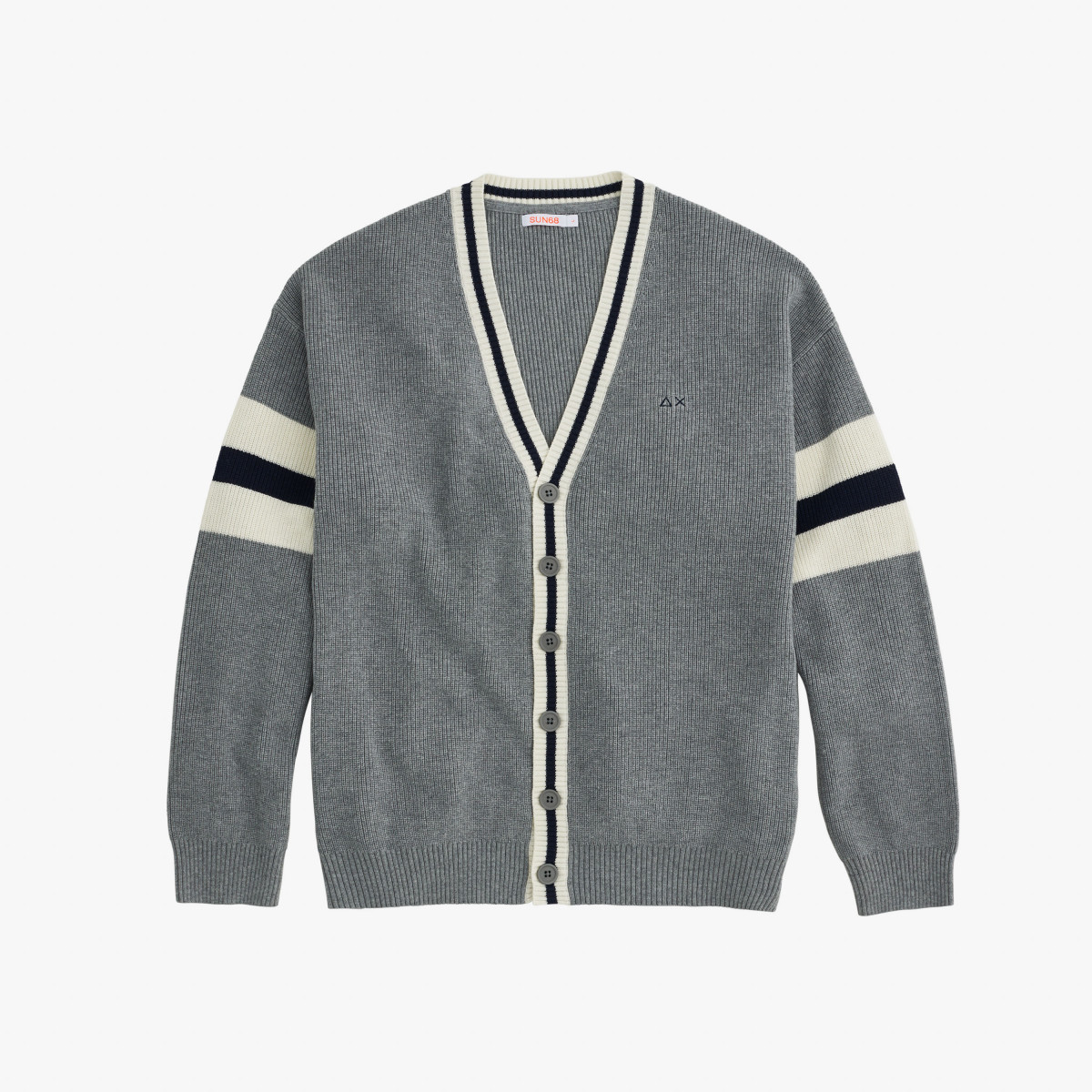 BOY'S CARDIGAN STRIPES ON SLV GRIGIO MEDIO