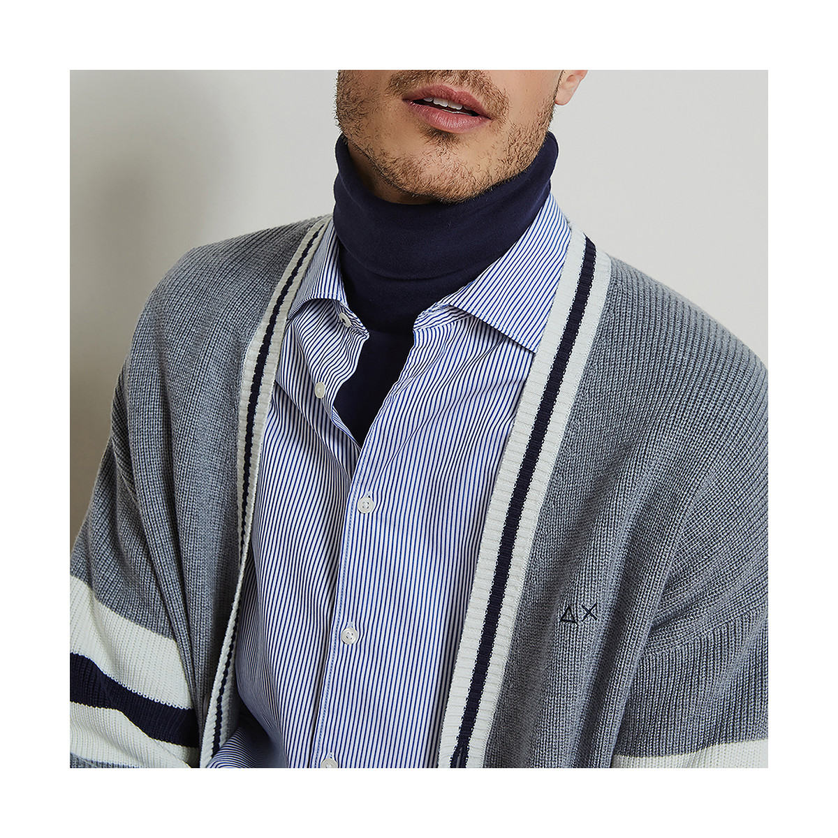 SHIRT DETAILS FRENCH COLLAR L/S NAVY BLUE/WHITE