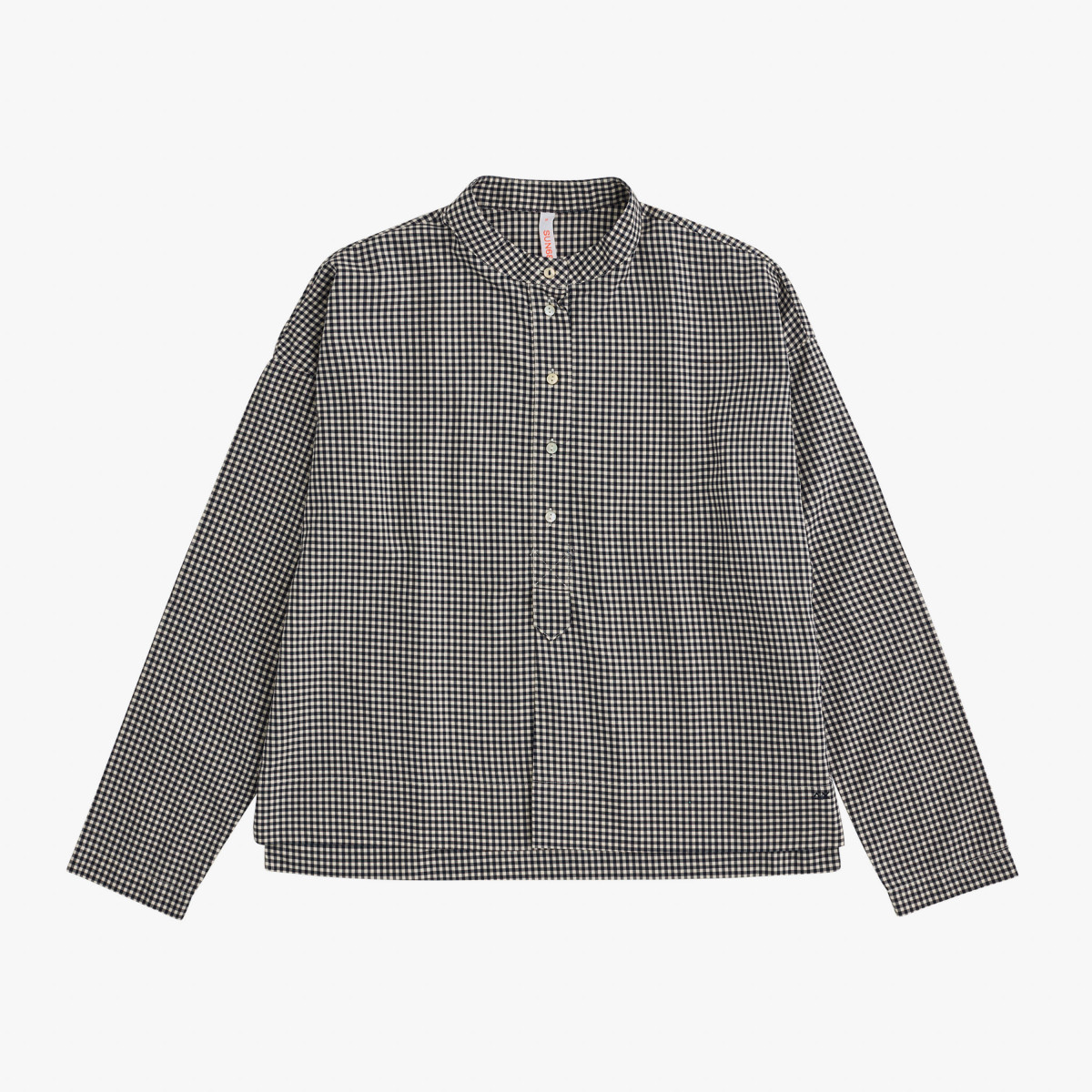 SHIRT KOREA COLLAR PLACKET L/S NAVY SCURO CHECK
