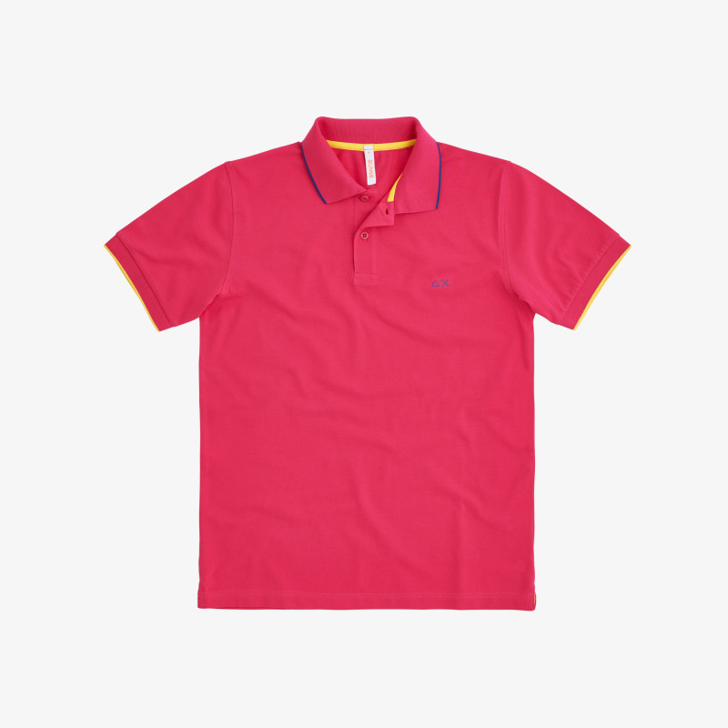 POLO SMALL STRIPE ON COLLAR EL. FUXIA