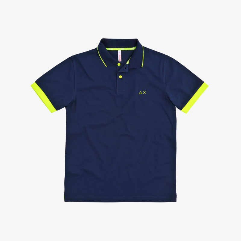 POLO SMALL STRIPE FLUO ON COLLAR EL. NAVY BLUE