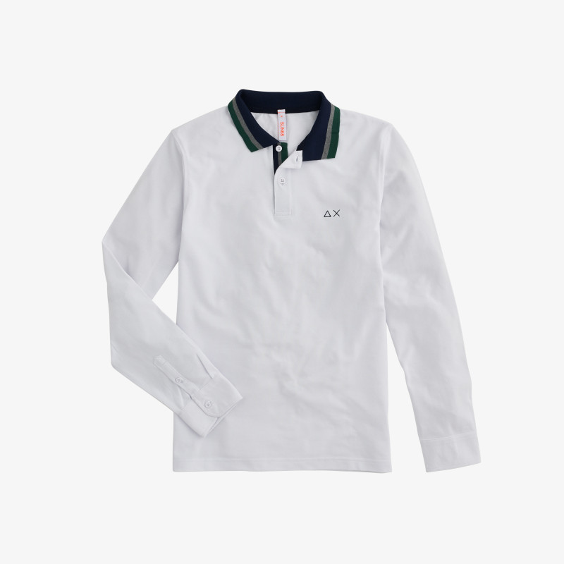 POLO EL. 3 COLOR COLLAR STRIPES L/S WHITE