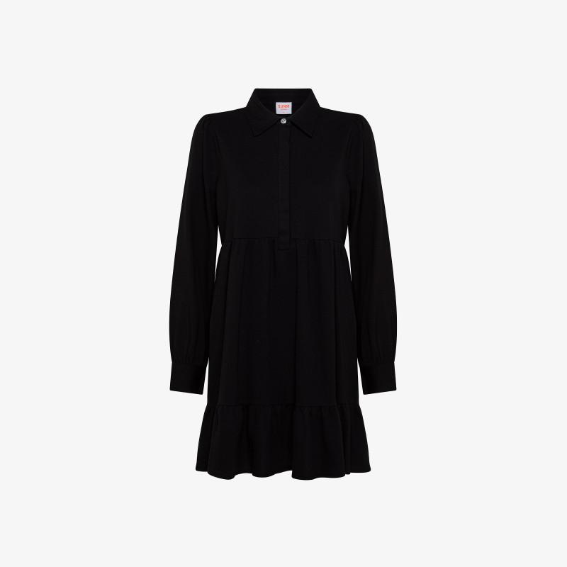 SHORT DRESS EL. L/S BLACK