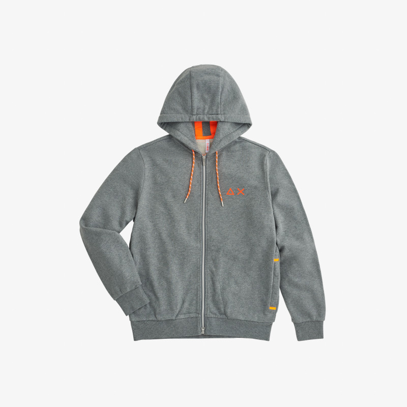 HOOD ZIP DETAIL FLUO COTT. FL. MEDIUM GREY