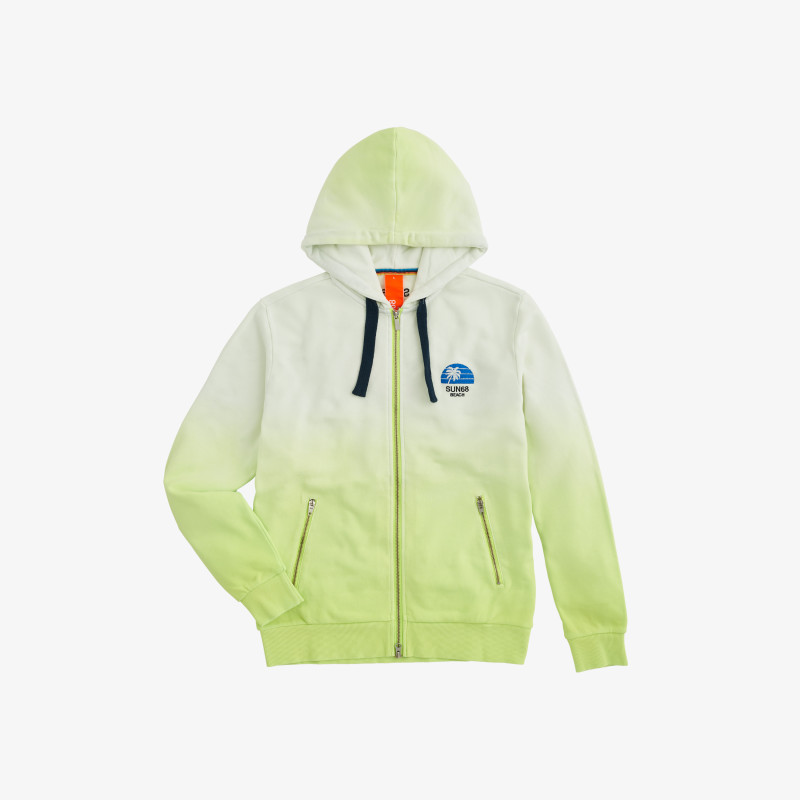 HOOD ZIP HANG DYE YELLOW FLUO