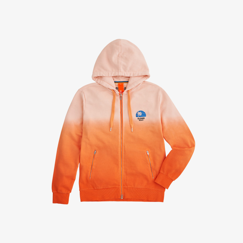HOOD ZIP HANG DYE ORANGE FLUO