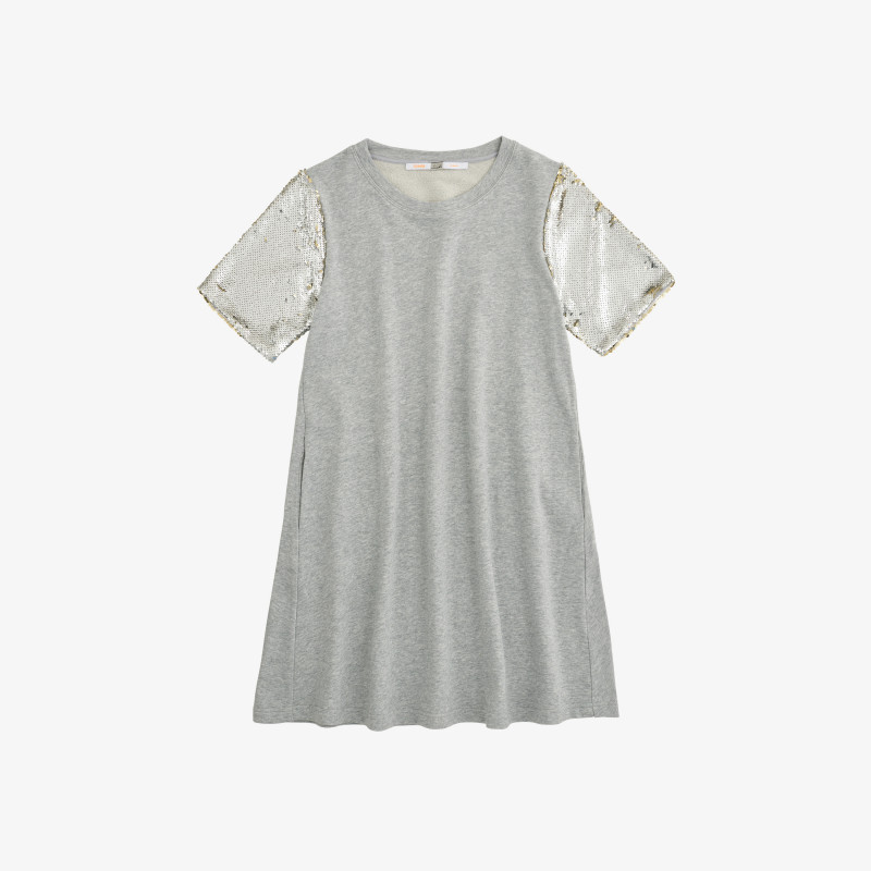 DRESS PAILLETTES ON SLV COTTON FL. LIGHT GREY