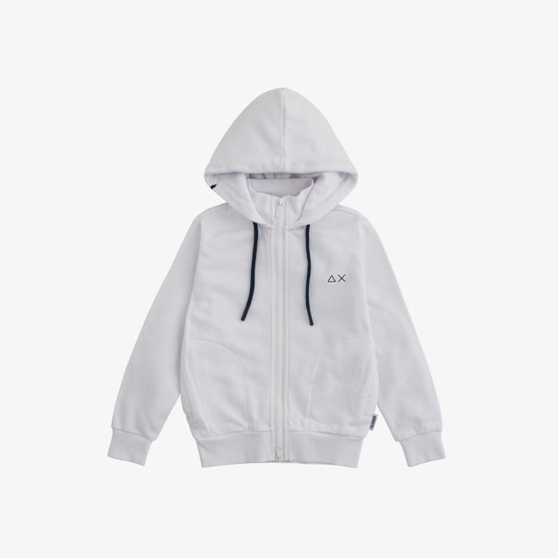 BOY'S HOOD ZIP COTT. FL. WHITE