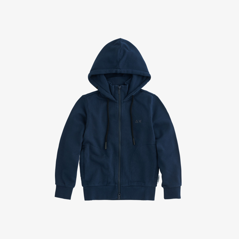 BOY'S HOOD ZIP COTT. FL. NAVY BLUE