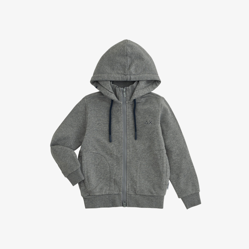 BOY'S HOOD ZIP COTT. FL. MEDIUM GREY