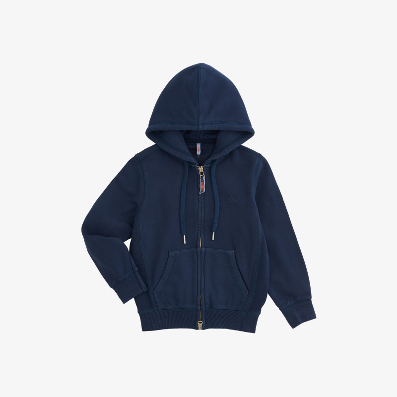 BOY'S HOOD ZIP COLD DYE COTT. FL. NAVY BLUE
