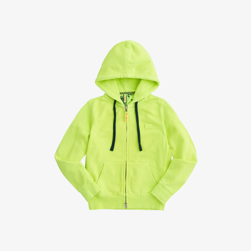 BOY'S HOOD ZIP COLD DYE COTT. FL. YELLOW FLUO