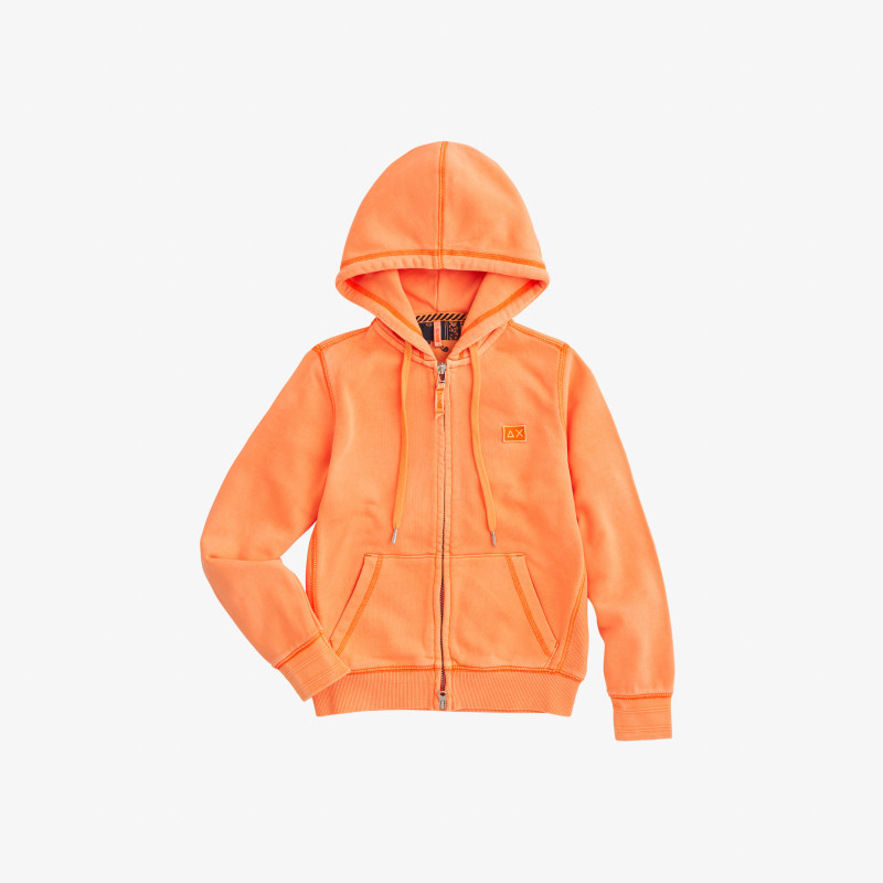 BOY'S HOOD ZIP COLD DYE COTT. FL. ORANGE FLUO