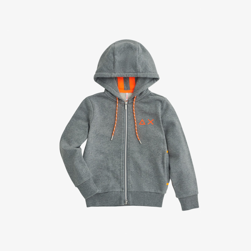 BOY'S HOOD ZIP DETAIL FLUO COTT. FL. MEDIUM GREY