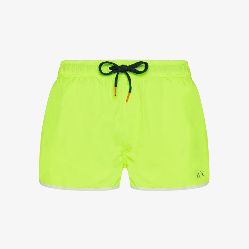 SWIM PANT SOLID BINDING SMALL LOGO YELLOW FLUO