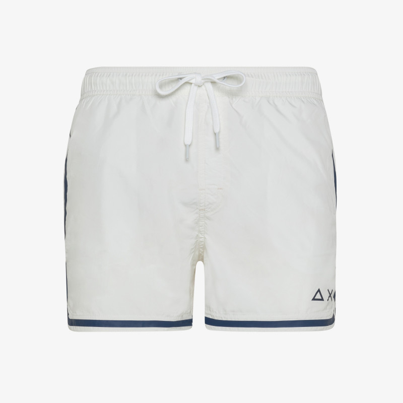 SWIM PANT SIDE BAND WHITE BIANCO