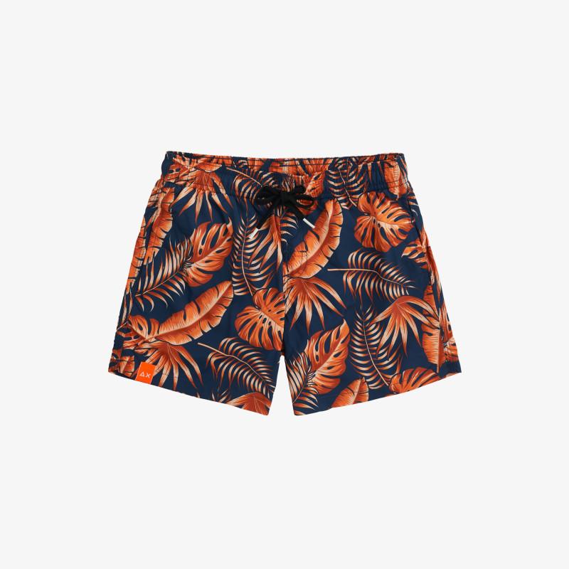 BOY'S SWIM PANT HAWAII FLUO NAVY BLUE/ORANGE FLUO