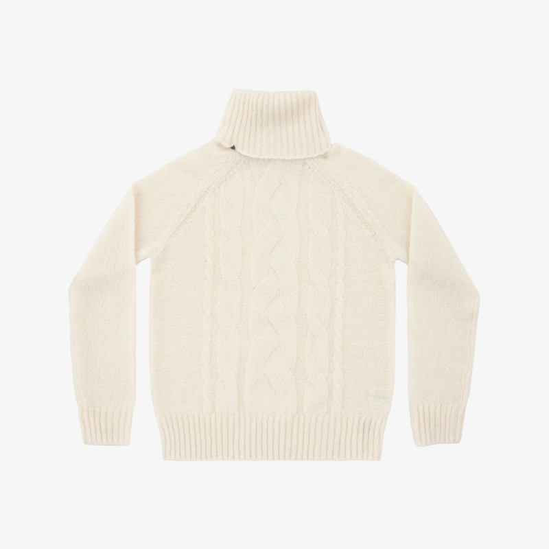 WOOL TURTLE CABLE WHITE