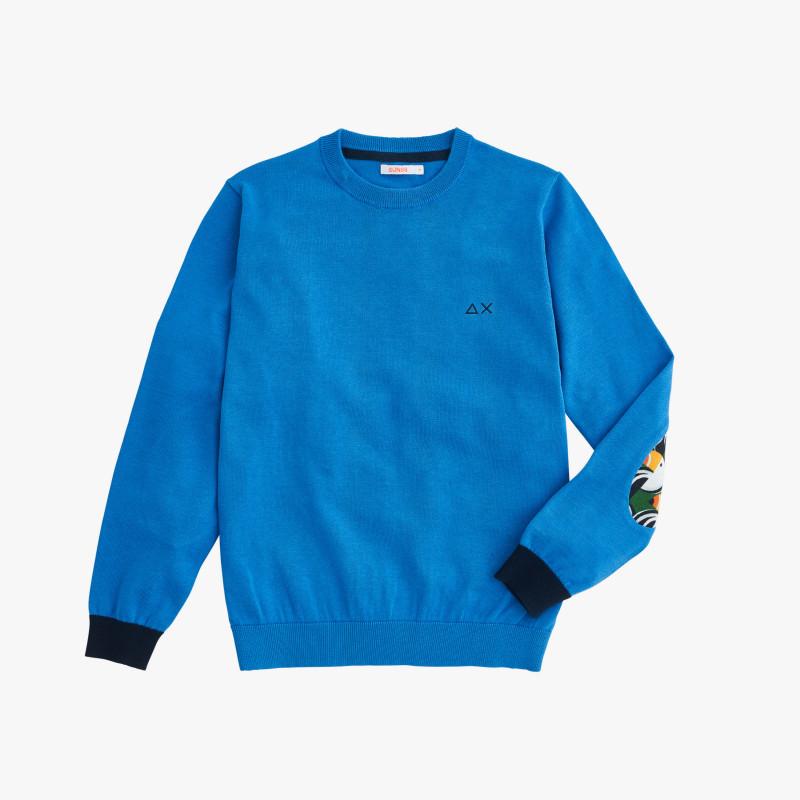 BOY'S ROUND NECK ELBOW FANCY BLUE