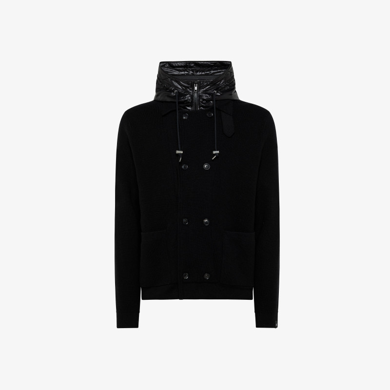 CARDIGAN WITH HOOD REMOVABLE BLACK
