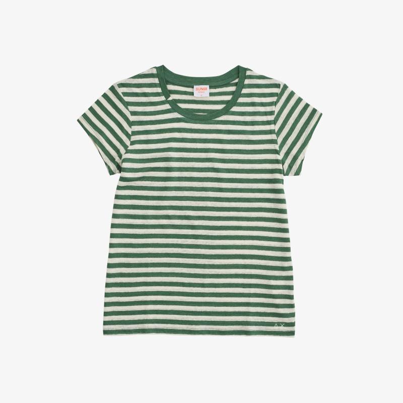 ROUND T-SHIRT LINEN STRIPES S/S SAGE GREEN/OFF WHITE