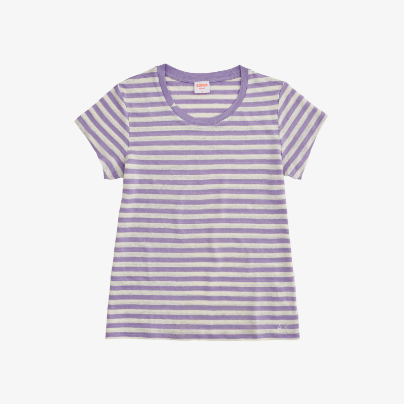 ROUND T-SHIRT LINEN STRIPES S/S LAVANDER/OFF WHITE