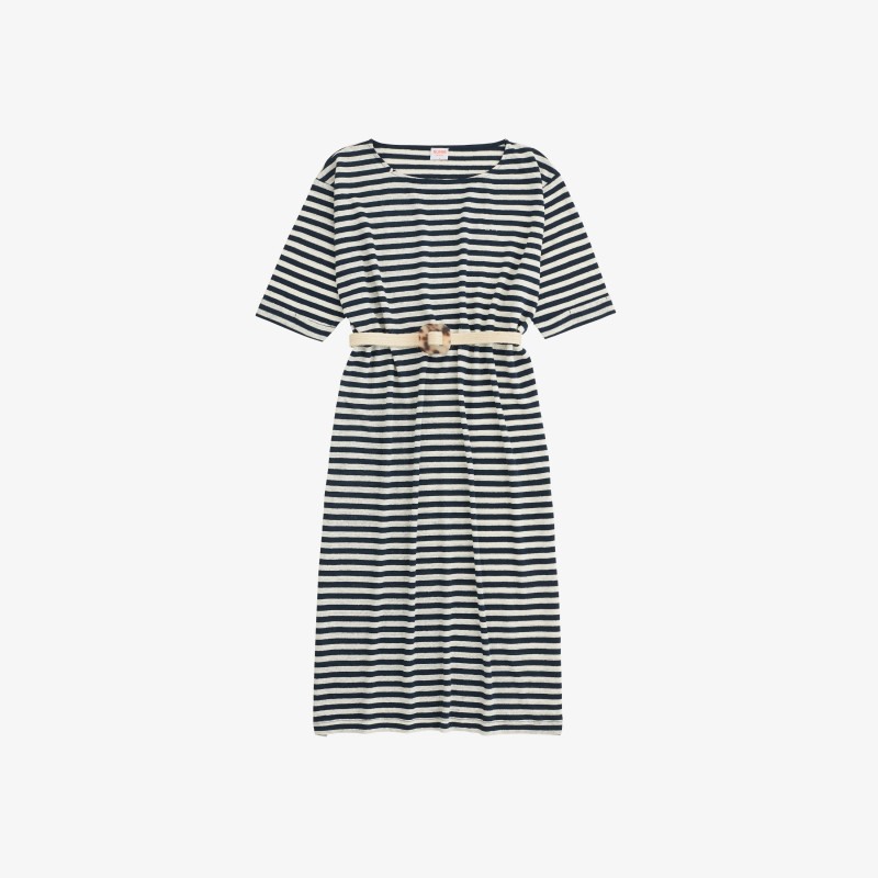 DRESS LINEN STRIPES NAVY BLUE/OFF WHITE