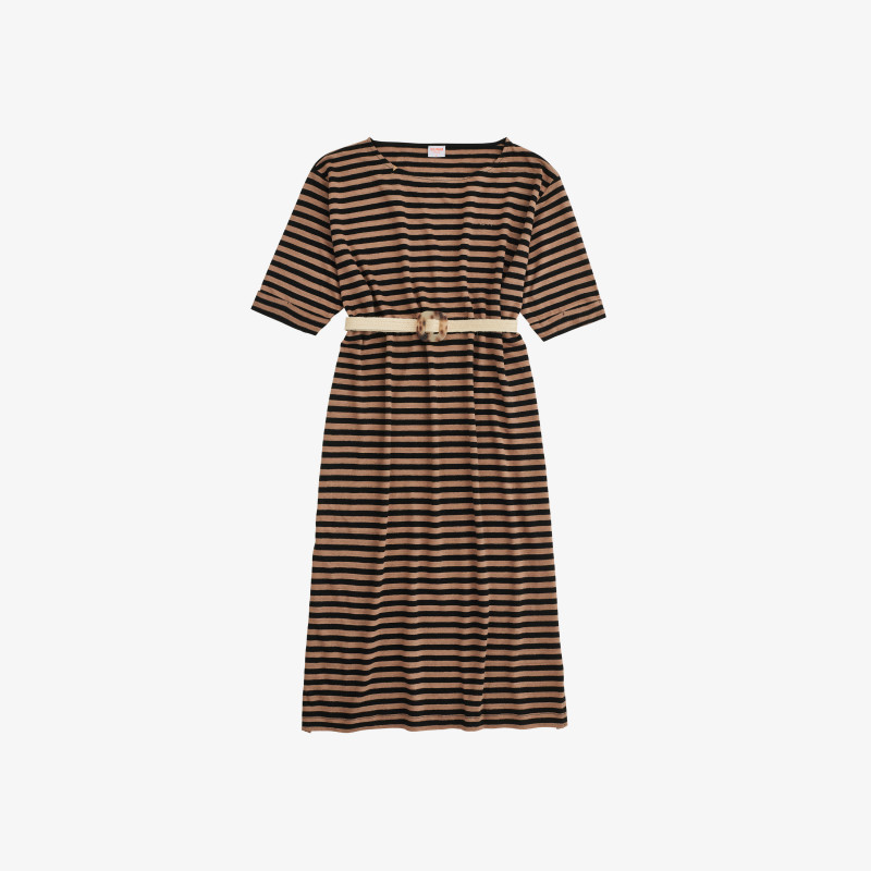 DRESS LINEN STRIPES BLACK/DESERT
