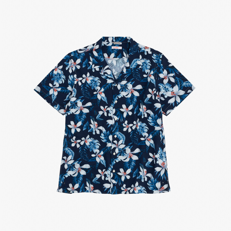 SHIRT CAMP COLLAR S/S NAVY BLUE
