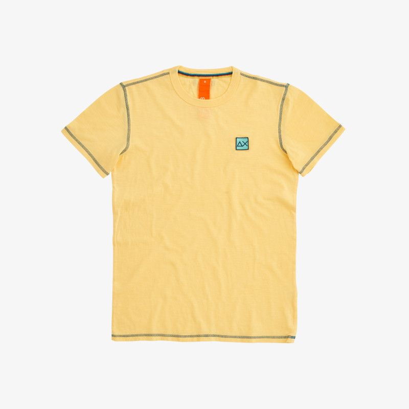 T-SHIRT COLD DYE CONTRAST STITCHING GIALLO SOLE