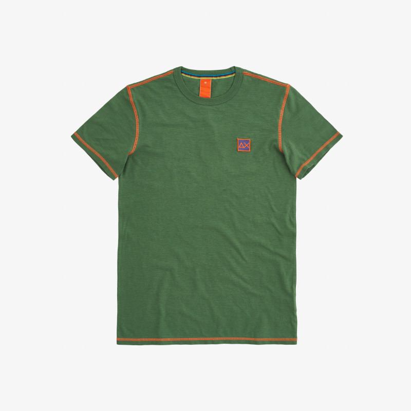 T-SHIRT COLD DYE CONTRAST STITCHING VERDE SALVIA