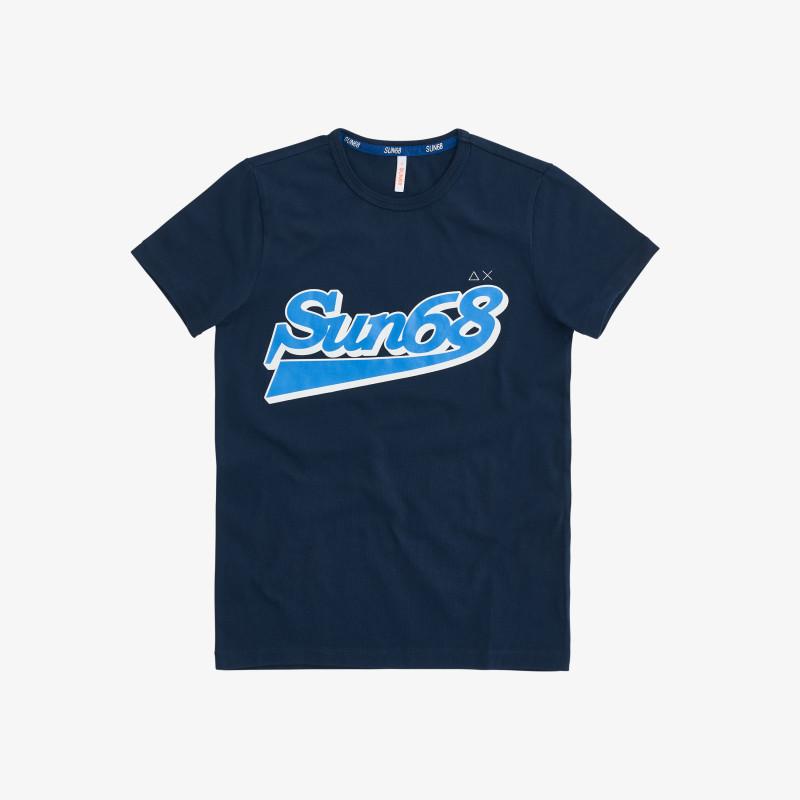 BOY'S T-SHIRT BIG LOGO ON CHEST NAVY BLUE