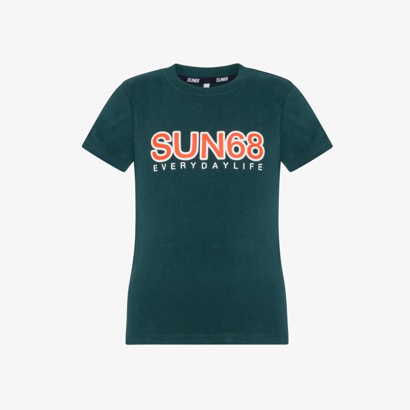 BOY'S ROUND T-SHIRT BIG LOGO S/S VERDE SMERALDO