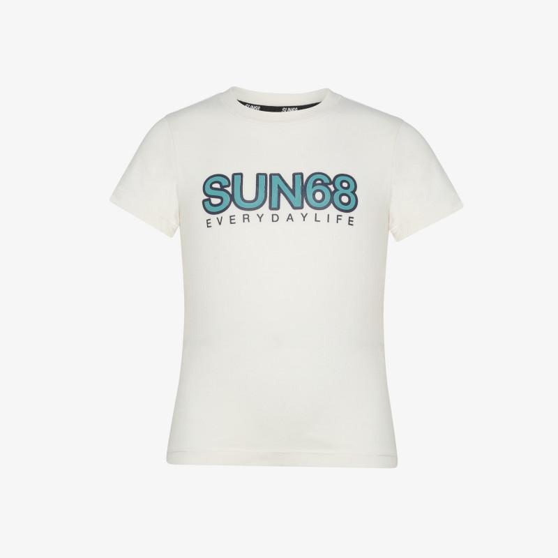 BOY'S ROUND T-SHIRT BIG LOGO S/S BIANCO PANNA