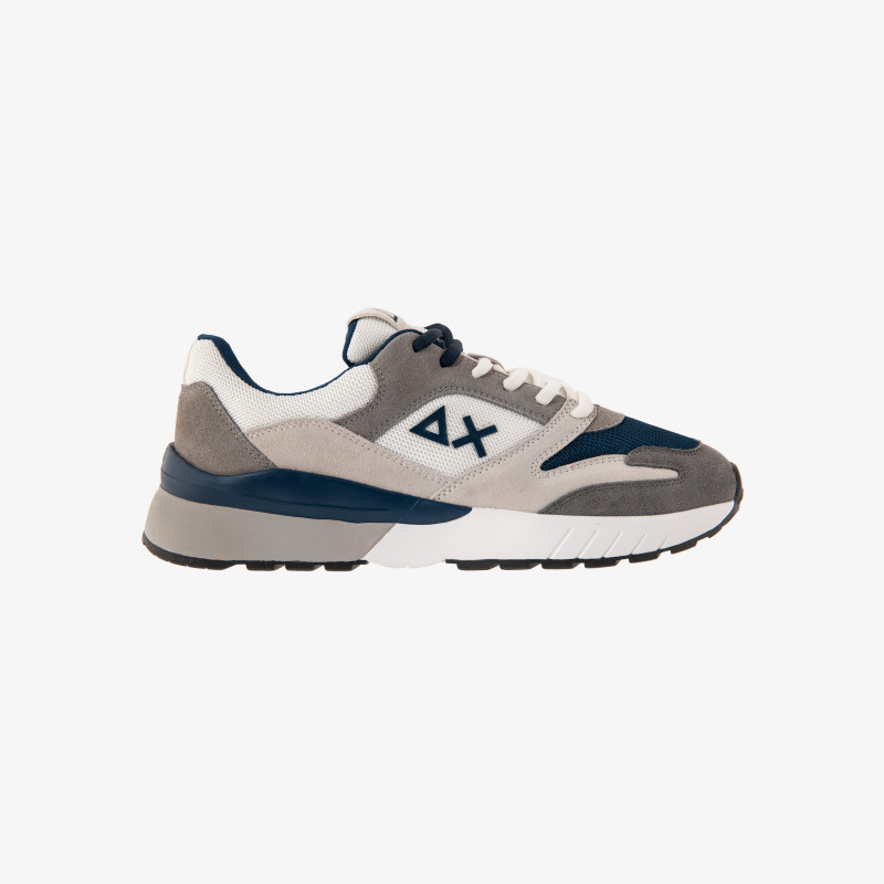 YAKI SUEDE MESH 3 COLOR WHITE/NAVY BLUE
